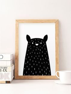 Black Bear print minimale Bär Bär Kinderzimmer Kunst von NorseKids