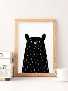 Black bear print Minimal bear Bear nursery art by NorseKids