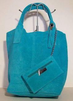 Damestas van Suede leer in Turquoise kleur model shopper