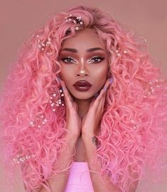 Nyané Nyane Lebajoa wears pink bubblegum wig by temperhair temperbeauty full lace wig bubblegum pink from the legacy collection curly glossy lips dark makeup Nyané beauty looks regal rose Temper wigs Pelo Multicolor, Curly Hair Styles, Natural Hair Styles, Pretty Hairstyles, Hairstyle Images, Hair Images, Hair Goals, Dyed Hair, Pretty People