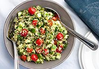 Quinoa Tabbouleh from our newsletter -- To make this a meal-in-a-bowl, just add your favorite protein. Leftover chicken, shrimp, or cooked beans or lentils work great.