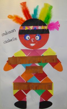 Indian collage for children -geometric shapes and a feather headdress- Juf Joyce