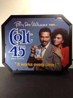 Colt 45 Malt Liquor Beer Billy Dee Williams Lighted Sign Vintage 1980's