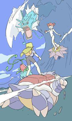 Blastoise, Starmie, Misty, Ivysaur, and Gyarados Pokemon Show, Pokemon Pins, Pokemon Fan Art, All Pokemon, Lugia, Mudkip, Photo Pokémon, Pokemon Special, Pokemon Pictures
