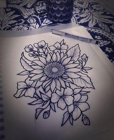 Sunflower drawing sunflower tattoo shoulder, flower tattoos on shoulder, thigh tattoo flowers, henna 16 Tattoo, Tattoo Diy, Get A Tattoo, New Tattoos, Body Art Tattoos, Future Tattoos, Tatoos, Tattoo Forearm, Tattoo Moon