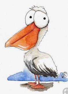 Bird Drawings, Cartoon Drawings, Animal Drawings, Cute Drawings, Cartoon Bird Drawing, Pelican Drawing, Pelican Art, Cartoon Kunst, Cartoon Art