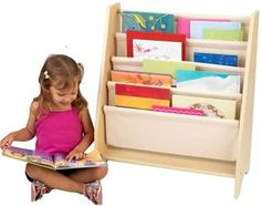 Turn the bedroom into a child-friendly library with the KidKraft 4 Shelf Natural Book Sling Bookshelf . This piece is sized just right for kids and allows. Toy Storage Boxes, Kids Storage, Storage Shelves, Storage Chest, Bookshelves Kids, Baby Bookshelf, Book Sling, Childrens Book Shelves, Kid Furniture