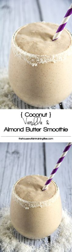 Coconut, Vanilla & Almond Butter Smoothie is a velvety smoothie made with coconut milk, vanilla, almond butter and sweetened with dates! #vegan #paleo #glutenfree #healthy