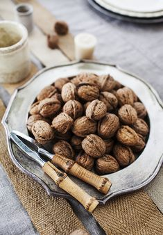 Walnuts for cracking on Thanksgiving table