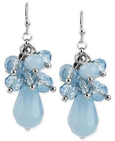 Haskell Silver-Tone Blue Faceted Shaky Bead Drop Earrings - Fashion Earrings - Jewelry & Watches - Macy's