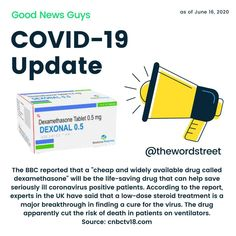 "The BBC reported that a ""cheap and widely available drug called dexamethasone"" will be the life-saving drug that can help save seriously ill coronavirus positive patients. According to the report, experts in the UK have said that a low-dose steroid treatment is a major breakthrough in finding a cure for the virus. The drug apparently cut the risk of death in patients on ventilators. 😍😍 #coronavirus #covid19 #covid_19 #coronavirusvaccines #covidvacccine  #corona #coronavirusnews… Best Love Quotes, Sad Quotes, Motivational Quotes, Instagram Handle, Friendship Quotes, Good News, The Life, About Uk, Cure"
