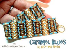 You are purchasing an odd count peyote digital pattern....NOT THE THE ITEM IN THE PHOTO!!  THIS IS A BEST SELLER!  I'M A BIG NUT....for caramel. I simply love the stuff! I had this delight on my mind when this design came about. Funny, huh!!??  I used size 11/0 Delica beads; a few size 15/0 gold round seed beads for the end loops; a size 12 long beading needle; 4 lb Fire Line fishing line to stitch and I chose a gold toggle bar and ring for the closure.  As designed, the bracelet me...