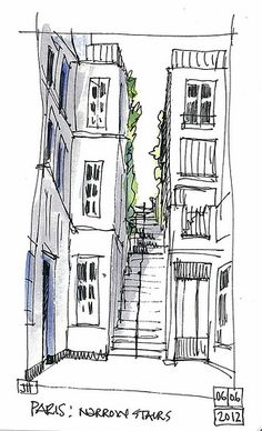 An exercise in perspective Cityscape Drawing, City Drawing, House Drawing, Building Drawing, Building Sketch, Croquis Architecture, Perspective Drawing, Landscape Drawings, Urban Sketchers
