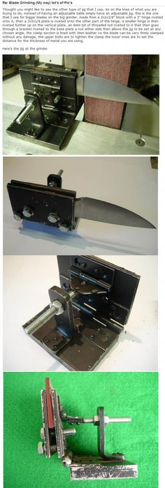DIY knife grinding jig - made from hinges, steel plate, and threaded rod… Knife Grinding Jig, Knife Sharpening, Knives And Tools, Knives And Swords, Knife Making Tools, Diy Knife, Belt Grinder, Knife Grinder, Blacksmith Tools