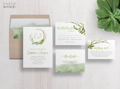 Wedding Invitation  Greenery Wedding Invitation Suite  Leafy