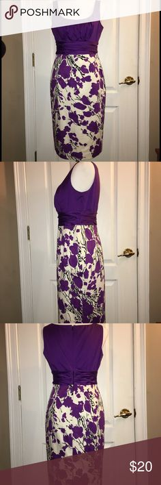 "JONES NEW YORK Fitted & lined Spring/Summer Dress Rich purple bodice and the floral skirt make this the perfect luncheon, shower or anything dress!  17"" across from under arm hole to armhole; 37"" from top back to hem. Jones New York Dresses"