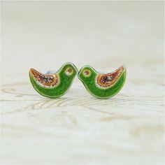 Little green birds shimmer brown - ceramic stud, earrings, surgical steel