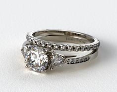 18k White Gold 3-Stone, Pave Diamond Engagement Ring & French Cut Pave Diamond Wedding Ring