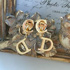 Vintage CHRISTIAN DIOR CD Logo Drop Earrings ~ SOLD OUT