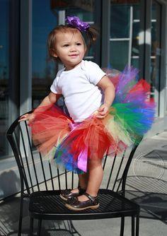 RAINBOW SPRINKLES-- Custom Made HandTied Ribbon Tutu by HAPPYBUBKIN on Etsy