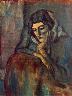 Woman in blue, 1902 by Pablo Picasso, Blue Period. Kunst Picasso, Art Picasso, Picasso Blue, Picasso Paintings, Picasso Images, Picasso Pictures, Georges Braque, Spanish Painters, Spanish Artists