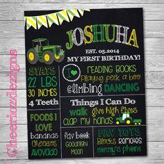 Tractor First Birthday Chalkboard  Custom Any by CheeriozDezigns