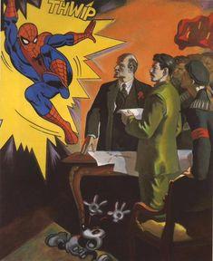 Spiderman . Este es, sin duda, el cuadro realista más ingenioso de Kosolapov. Spiderman irrumpe en un cuadro típico del realismo socialista. Así, los tiranos soviéticos han vuelto convertidos en rutilantes estrellas de la trashvanguardia pop. | Alexander Kosolapov