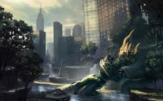 Ruins Post-apocalyptic New York City Statue Of Liberty Flooded Out Of This World, End Of The World, 1080p Wallpaper, Wallpaper Backgrounds, Post Apocalyptic City, Utopia Dystopia, Post Apocalypse, Apocalypse Earth, Thing 1
