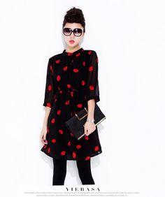 High-Quality Printing Chiffon Shirt Slim Slim Lips Bottoming Waist Dress Red LG15033109http://www.clothing-dropship.com