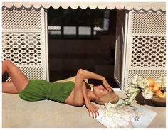 Natalie Paine in Claire McCardell swimwear, photo by Louise Dahl-Wolfe for Harper's Bazaar in Hammamet, Tunisia June 1950