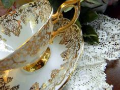 Royal Standard Teacup Tea Cup and Saucer White and Gold England 5147 by VintageKeepsakes for $37.00