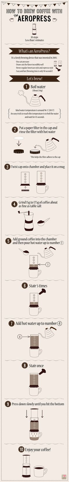 The Aeropress Instructional Poster was a joy to create for my Advance Typography class. The Aeropress is something dear to my heart, as it is what I used everyday to make my daily cup of coffee. Inspired by my personal experiences and daily debates… Coffee Wine, Coffee Barista, Coffee Talk, I Love Coffee, My Coffee, Coffee Drinks, Coffee Shop, Coffee Maker, Coffee Brewing Methods