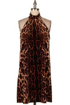 HIGH NECK LEOPARD PRINT DRESS   #16J-D3947