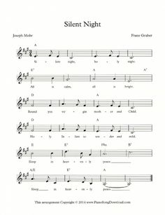 Silent Night: Christmas free lead sheet with melody, chords and lyrics Piano Music Easy, Piano Music Notes, E Piano, Vocal Lessons, Music Lessons, Christmas Piano Sheet Music, Free Sheet Music, Music Sheets, Keyboard Sheet Music