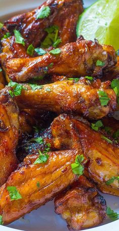 Cilantro lime chicken wings are full of flavor, a healthier option and super easy clean up. You will love this recipe: it's fast, easy, and flavorful. Cooking Chicken Wings, Chicken Wing Recipes, Fried Chicken, Tandoori Chicken, Glazed Chicken, Crispy Chicken, Garlic Chicken, Cilantro Lime Chicken, Most Popular Recipes