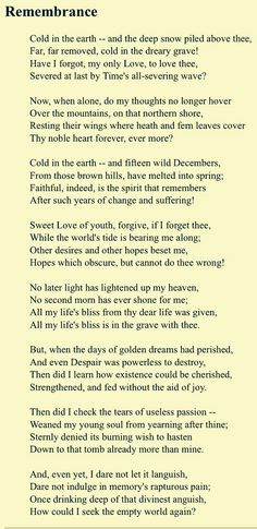This is one of my favourite poems by Emily Bronte.