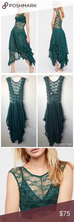 """NWT Free People French Courtship Slip Dress $98 NWT Free People French Courtship Sheer lace slip dress with high neckline at front and low """"V""""-back. Skirt portion is double layered with ruffled trimming. Hangs longer on the sides than the middle. *Please note, an additional slip is not included with this style. We recommend pairing this piece with our Seamless Mini, STYLE: 24841850, as pictured.  Color: Evergreen. $98 retail. Size XS Free People Dresses Asymmetrical"""
