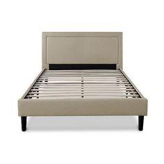 Sleep Revolution Platform Bed ($480) ❤ liked on Polyvore featuring home, furniture, beds, beige, king size bed, queen footboard, king size headboard, king bed platform and king size bed platform