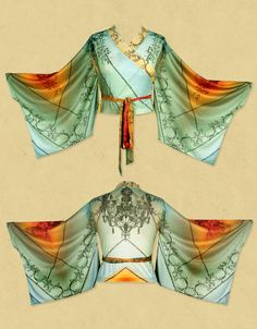 Michal Negrin Handmade ribbed printed kimono shirt with glitter detailing.