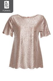 SCALLOPED SHIMMER TOP  R59.99