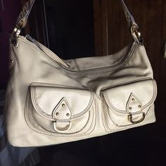 """Hype Beige Leather Handbag Soft leather, great quality hardware with faint scratches on the front pocket hardware from usage, pockets are magnetic, in perfect condition, no scratches, tears or stains, very clean. Dimensions are 13""""L x 9""""H x 4""""W Hype Bags"""