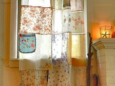 boho vintage handkerchief curtain panel by pillowhappy on Etsy