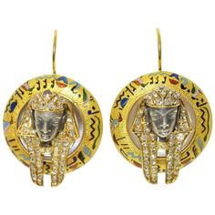 Victorian Egyptian Revival Pharaoh Enamel Diamond Gold Drop Earrings | From a unique collection of vintage drop earrings at https://www.1stdibs.com/jewelry/earrings/drop-earrings/