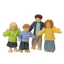 """Light Skin Posable Doll Family by Constructive Playthings. $18.99. Flexible arms and legs. Father is 5 1/2"""" H.. Ages 3 yrs. +. 4 pc. wooden family. Charmingly dressed, these 4-pc. wood families have flexible arms and legs and yarn hair. Father is 5-1/2 tall. Choose Ethnic group. Ages 3 yrs. +."""""""
