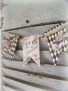 Handmade Bird Banner Harlequin Design Vintage Bird Art  by QueenBe