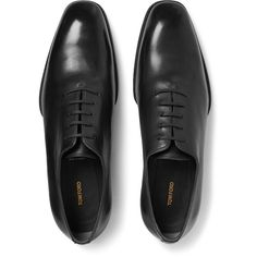 Tom Ford Whole-Cut Leather Oxford Shoes (7,775 MYR) via Polyvore featuring men's fashion, men's shoes, mens leather lace up shoes, tom ford mens shoes, mens black oxford shoes, mens black leather shoes and mens leather shoes