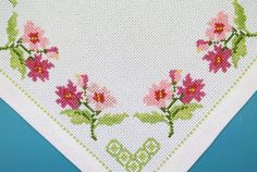 """Exellently well done vintage handmade embroiderypink/ limegreen flower motive cross-stich small square white cotton aida fabric tablet/ table-cloth. SIze: 10 * """"/ inch or * cms. Cross Stitch Borders, Crochet Borders, Cross Stitch Flowers, Cross Stitch Designs, Cross Stitching, Cross Stitch Embroidery, Cross Stitch Patterns, Embroidery Transfers, Floral Border"""