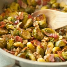 Roasted Brussels Sprouts with Walnuts and Crispy Bacon