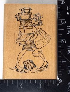 SHOPAHOLIC Current Inc 1994 Rubber Stamp Woman Shopping Fashion Gifts RARE! #766 #CurrentInc
