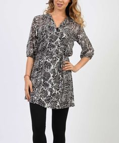 This Adiktd Gray Leopard Notch Neck Tunic - Women by Adiktd is perfect! #zulilyfinds